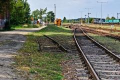 Czersk, dworzec kolejowy, fragment toru do rozebranej parowozowni (2018)