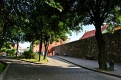 Chojnice, pozostałości średniowiecznych murów miejskich (2018)